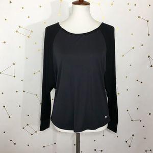 Splits59 • Black Gray Ribbed Warmup Pullover Top